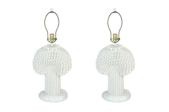 #1911 Pair White Asparagus Lamps