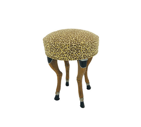 #4593 18th Century Deer Leg Stool/Clarence House Needlepoint