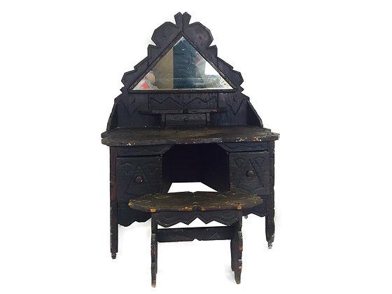 #2464 Primitive Adirondack Vanity Table & Bench