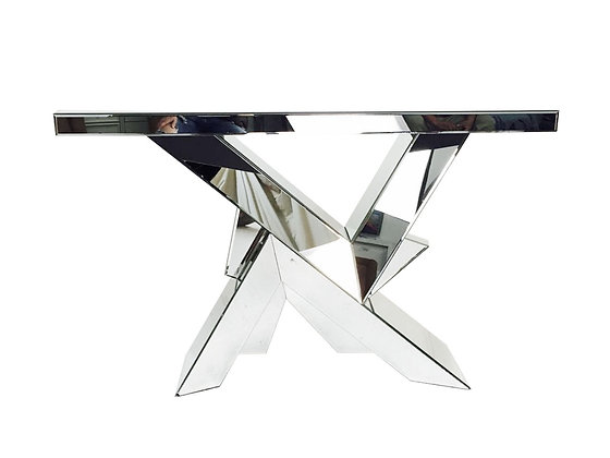 #8806 Geometric Mirrored Console Table