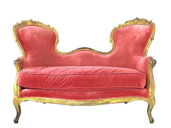 #4108 Victorian Pink Velvet Settee