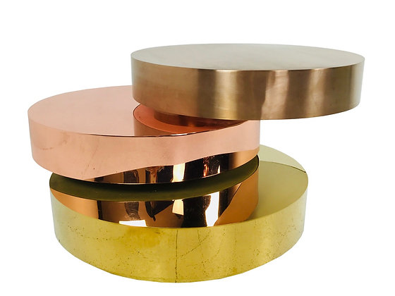 #3871 Three Tiered Multiple Colored Metal Coffee Table in the Style Maria Pergay