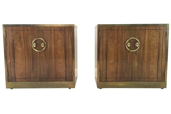 #1804 Pair Zebrano Wood Nightstands by Mastercraft
