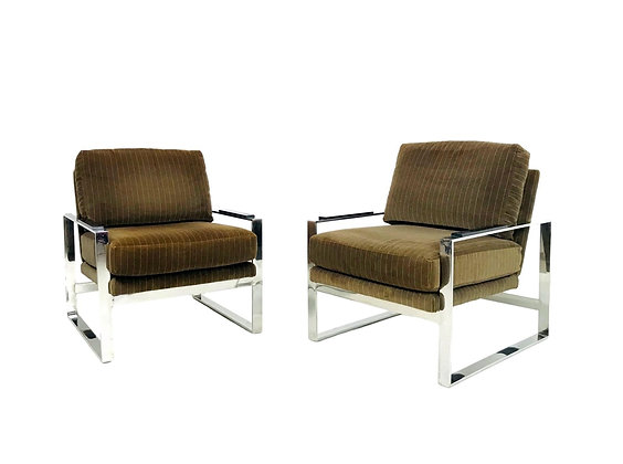 #5686 Pair of Chrome Lounge Chairs in the style of Milo Baughman