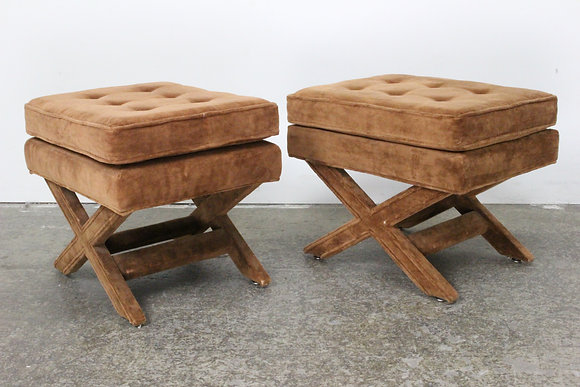 #1485 Pair Brown X Benches