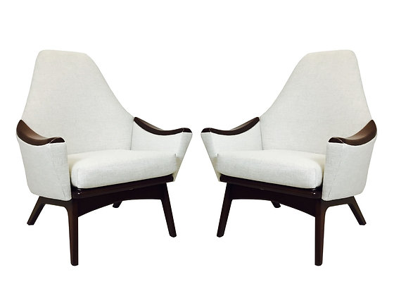 #2381 Pair High Back Pearsall Armchairs