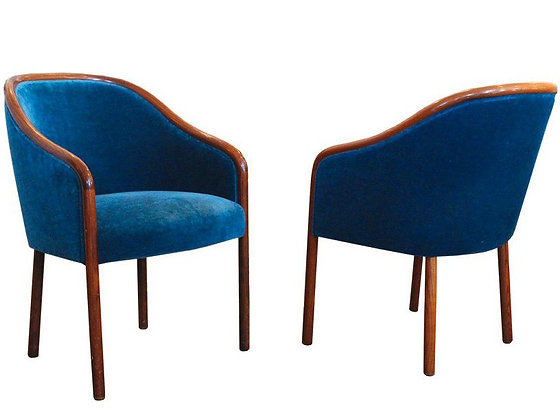 #2828 Pair Blue Sapphire Velvet Wood Wrapped Armchairs by Ward Bennett
