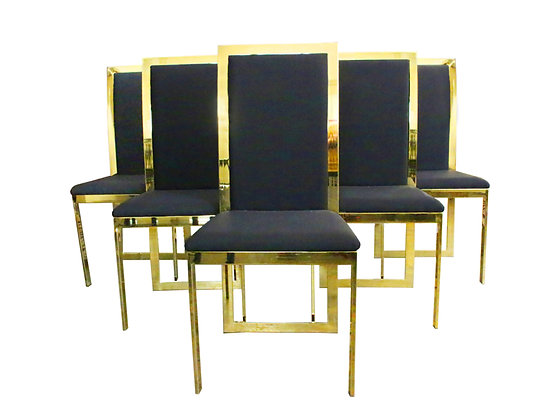 #1284 Set of 6 Brass Dining Chairs Style of Milo B