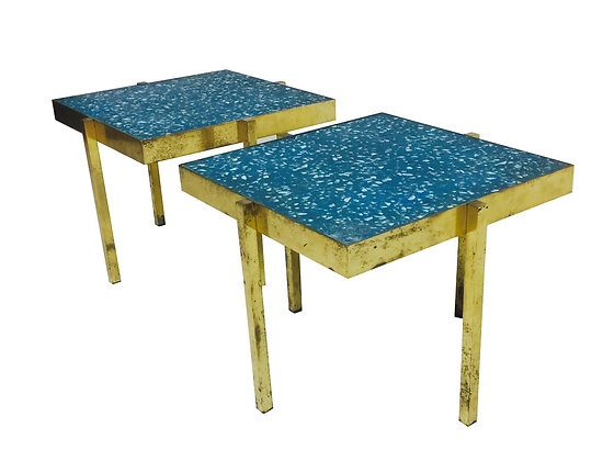 #3110 Pair of Blue Terrazzo Topped Brass Side Tables