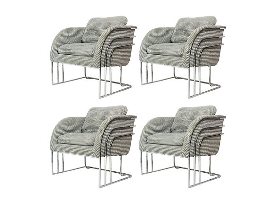 #2508 Set of Four Deco Chrome Club Chairs by Milo Baughman