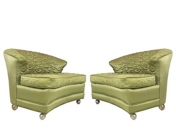 #1365 Pair Regency Slipper Green Chairs