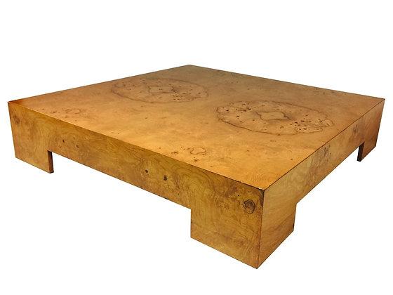 #2643 Milo Baughman Burl Wood Coffee Table