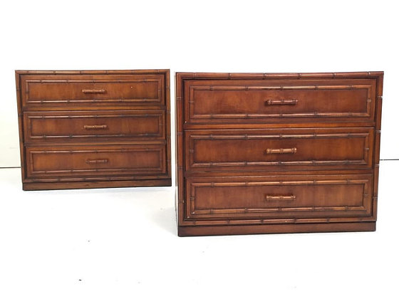 #1594 Pair Bamboo Bachelor Chests