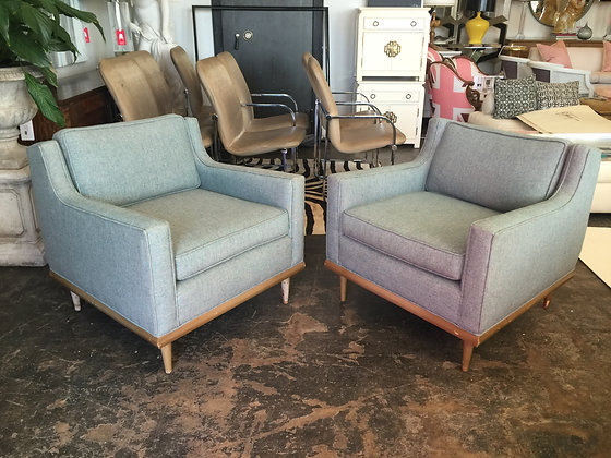 #1450 Pair Modern Chairs with Wood Trim