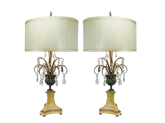 #3732 Pair of Mid-Century Crystal Table Lamps