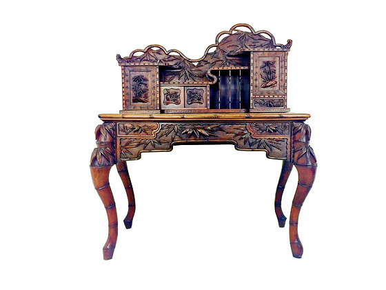 #2434 Carved Asian Bamboo Style Letter Desk