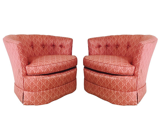 #3017 Pair of Red Tub Chairs