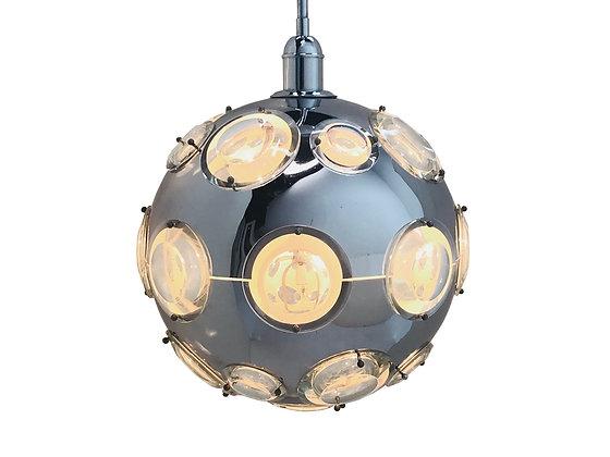 #3586 Chrome & Steel Globe Pendant