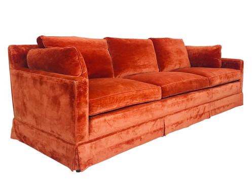 3950 Vintage Orange Velvet Sofa By Dunbar