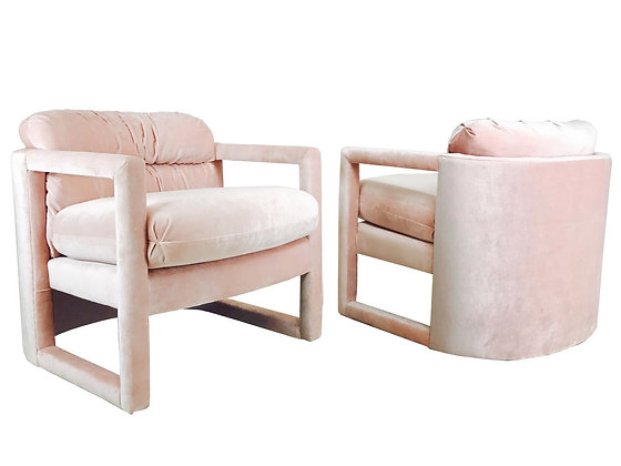 #2352 Pair of Drexel Parson Style Lounge Chairs in Blush Velvet