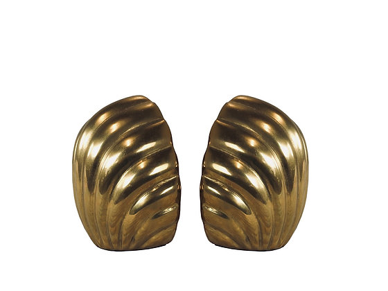 #3455 Pair Brass Clam Shaped Bookends