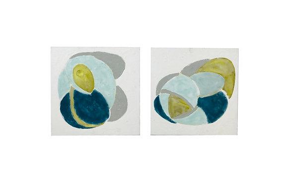 #4971 Pair Blue/Green Abstract Art
