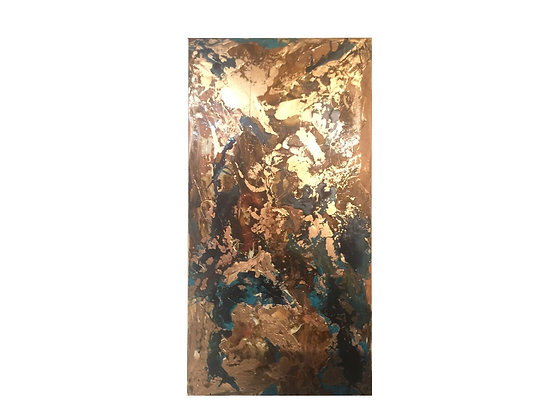 #2611 Bronze & Gold Oil on Canvas Abstract Painting
