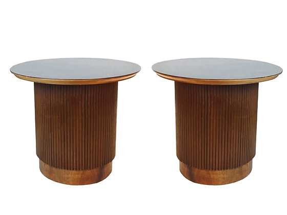 #2470 Pr Round Ribbed Walnut Side Tables by Lane