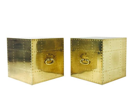 #2482 Pair Brass Sarreid Cubes