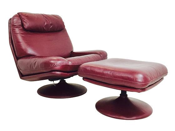#2884 De Sede Leather Swivel Chair & Ottoman