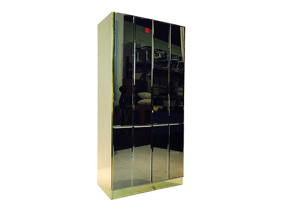 #2126 Tall Ello Mirror and Brass Accented Cabinet