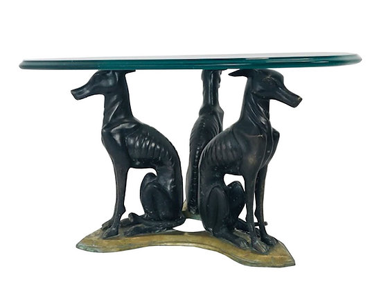 #4325 Brass Trio of Whippets Coffee Table