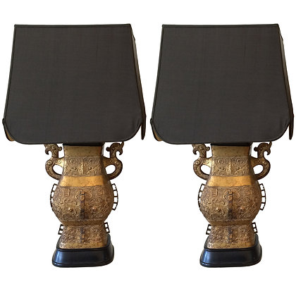 #5050 Pair Gold Ming Lamps