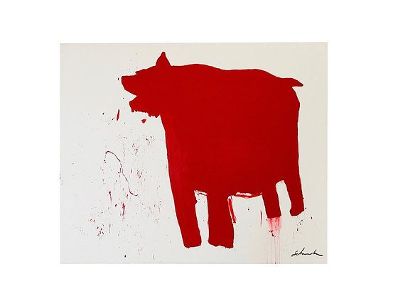 "#3489 Red American Bear Dog 72"" x 60"""