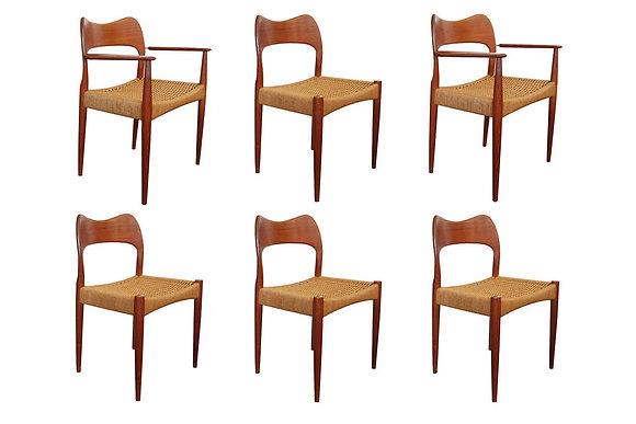 #7690 Set of Six Danish Chairs