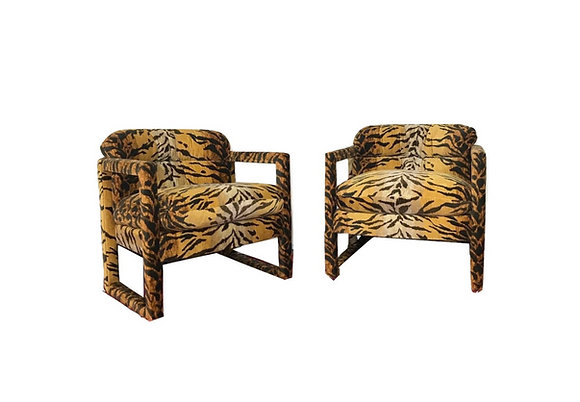 #4265 Custom Tiger Print Milo Baughman Chairs