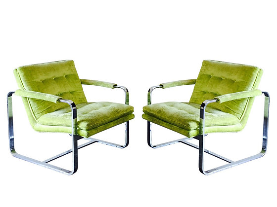 #2188 Pr YellowGreen Milo Baughman Chrome Chairs