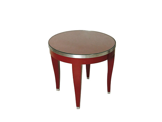 Amazing #2833 Small Red Lacquer Side Table W/Glass Top