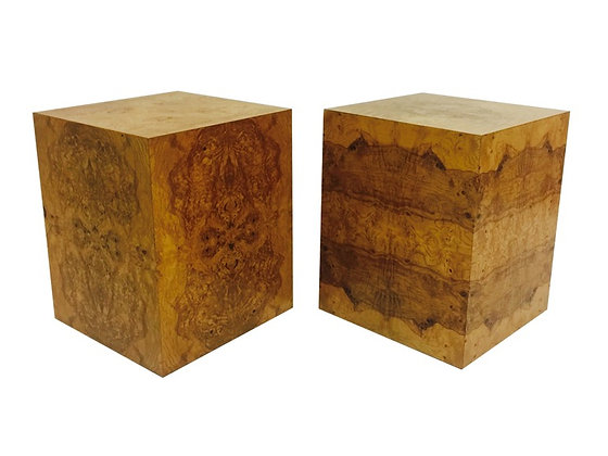 #2080 Pair Milo Baughman Burl Wood Cubes