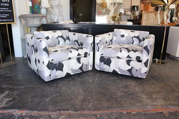 #8327 Pair Modern Floral Cube Chairs