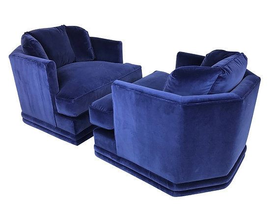 #3444 Pair of Hex Back Blue Velvet Swivel Chairs in the Style of Milo Baughman