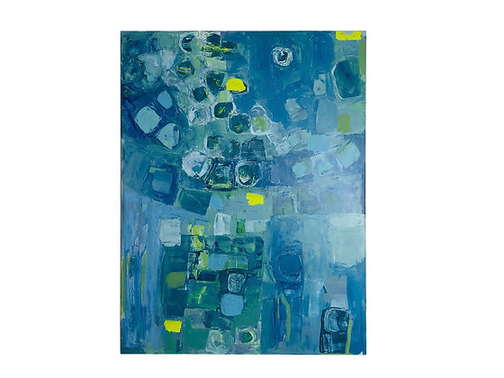 #4034 Blue Abstract Painting by Liz Schneider
