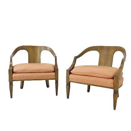 #4786 Pair Wood Frame Armchairs