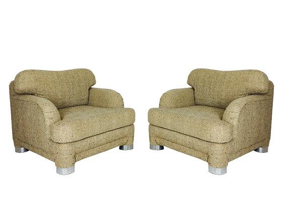 #8316 Pair 80s Chairs & Ottoman
