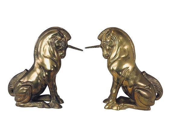 #3350 Pair of Brass Unicorns Statues