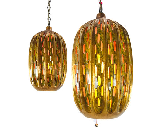 #5624 Pair of Glazed Ceramic Cutout Pendant Lights
