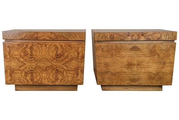 #1557 Pair Milo Burl Wood Nightstands by Lane
