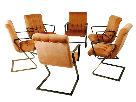"""#2868 Set of 6 Brass """"Z"""" Cantilever Dining Chairs"""