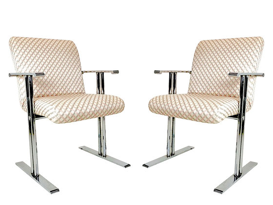 #1016 Pair Chrome Armchairs for Directional