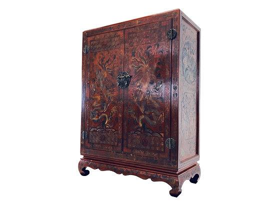 #3261 Red Asian Armoire